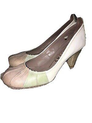 HISPANITAS Beige Green Taupe LEATHER Retro look Ladies Court Shoes Heels EU 41
