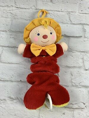 CARTERS Red Plush Stuffed Baby CLOWN Musical Pull Crib Toy Twinkle Little Star Clown Musical Pull