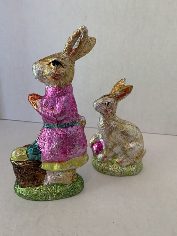 Easter Spring Faux Chocolate  2 Foil Wrapped Bunny Rabbits with Eggs Sculptures