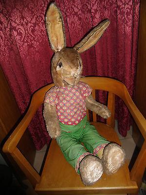 Osterhase mit Stroh Gefüllt Antik Spielzeug 1950 plüsch filz offener mund riesig