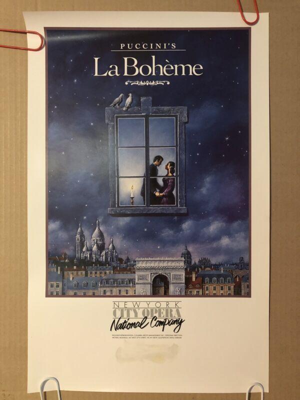 Puccini's La Boheme Original Vintage Poster Pin Up New York Opera National.