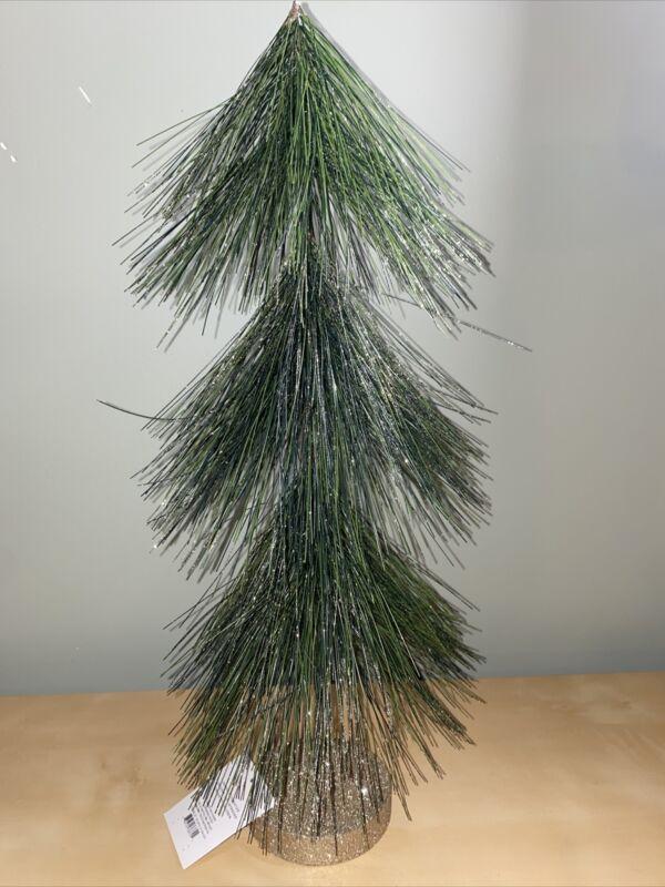 "Wondershop Green Bottle Brush Christmas Tree w/ Glitter 19"" tall. Long Needle"