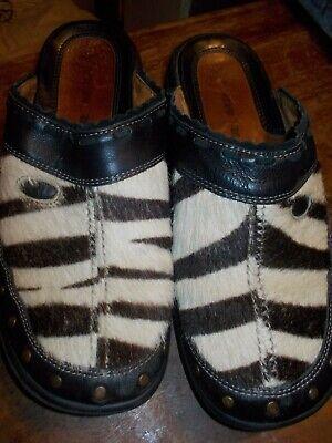Romika Slip On Casual Mule Clogs Shoes Fur Animal Print Women's Sz 8.5 Animal Print Clog