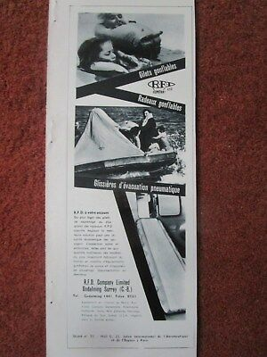 6/63 PUB RFD SAFETY CANOT LIFERAFT ESCAPE SLIDE LIFEJACKET SAR RESCUE FRENCH AD