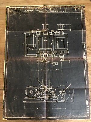 Vintage American Hoist & Derrick Co. 25 HP Electric Hoist Motor 1912 Draft Copy