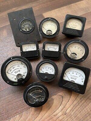 Lot Of 10 Vintage Weston Meters Gauges Voltmeter Ammeter Milliamperes Etc