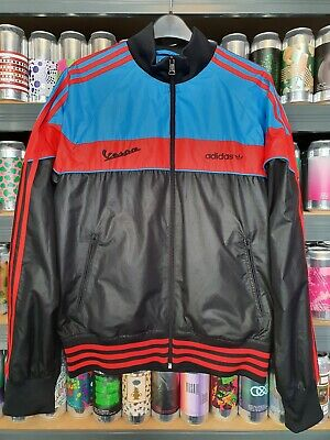 🛵💙❤🖤 Adidas Vespa Mens Medium Jacket Coat Rare Retro Vintage Mod VGC Unique