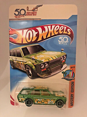 Hot Wheels Mystery 71 Datsun 510 Wagon Chase Exclusive Serie 3 on Custom Card .