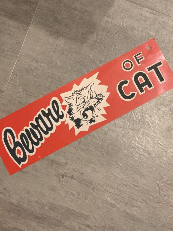 vintage Beware of Cat sign wildcat  mascot thin older plastic  red