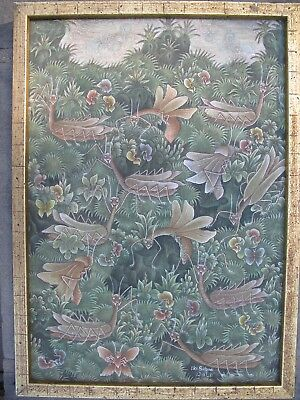 ORIGINAL BALINESE PAINTING on LINEN Signed I.Kt. Subudi Praying Mantises BALI