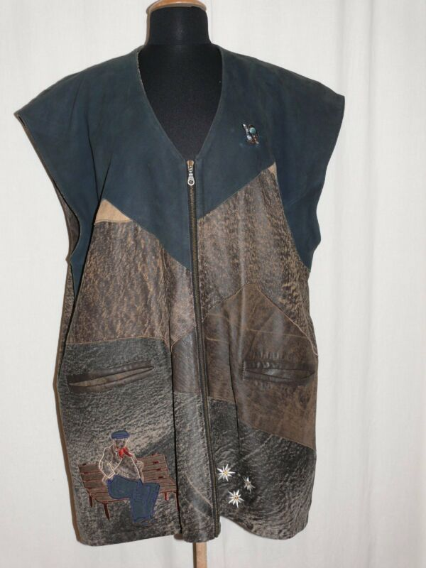 Exceptional Traditional Country Leather Vest with Embroidery Braun/ Blue 58