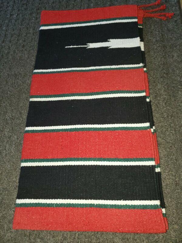 Navajo Print Native American Design  Woven Rug Saddle Chair Blanket Black Red