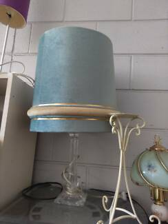 Lamp large.  Retro - Vintage Aqua fine velvet shade, acrylic base