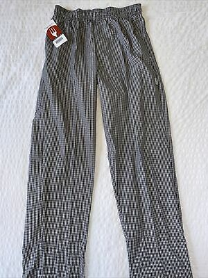 Chef Works Checkered Chef Pants Size M Elastic Drawstring Waist