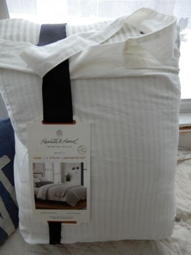 HEARTH AND HAND YARD DYED COMFORTER SET NEW NWT FARMHOUSE CHIC STRIPE X STITCH