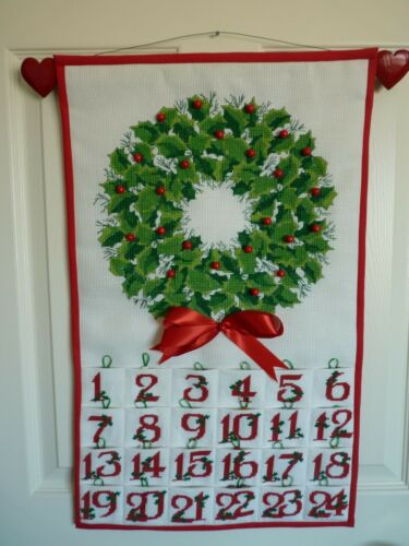 "Gorgeous Handmade Cross Stitch Holiday Advent Calendar Wall Display L25"" x W15.5"