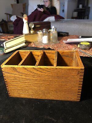 Wooden Desktop Storage Organizer Remote Control Caddy Holder Wood Box Container
