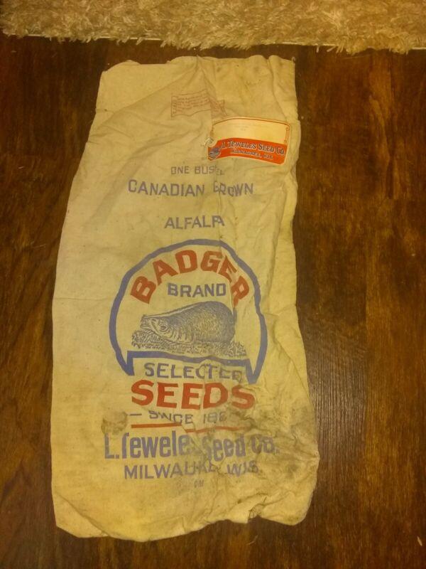 Rare Vintage Antique Feedsack Feed Bag Badger Brand Milwaukee Wisconsin Farm