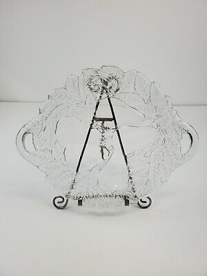 Vintage Clear Pressed Glass Pear and Leaves Plate/Platter