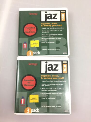 2 IOMEGA JAZ 1GB CARTRIDGE W/Cases for Mac or PC