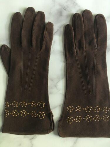 Vintage Chocolate Brown Suede Swirl Gloves