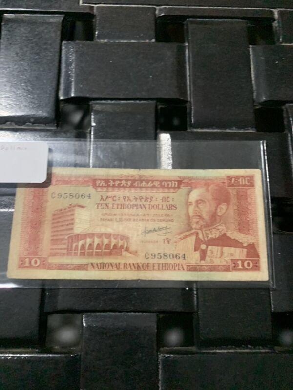 ETHIOPIA 10 DOLLARS 1966 P27   F