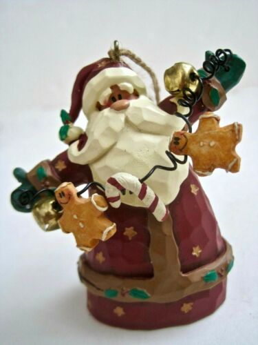 Crazy Mountain Santa Claus Ornament With Bells, Gingerbread Men & Candy Cane