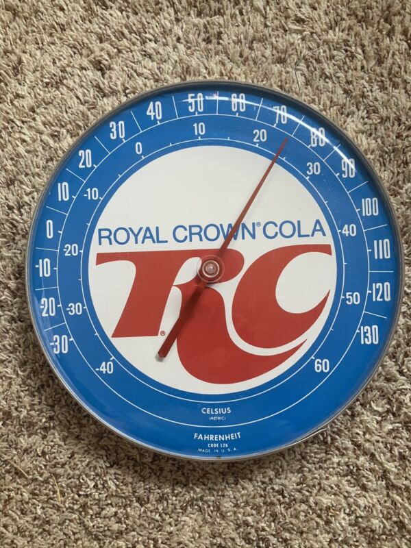 """Vintage RC Royal Crown COLA 12"""" Round ThermometerNice"""
