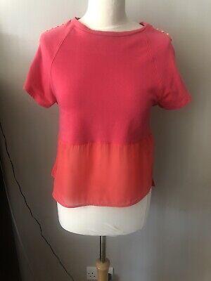 Karen Millen Bright Pink Short Studded Sleeved Jersey Chiffon Panelled Top UK 10