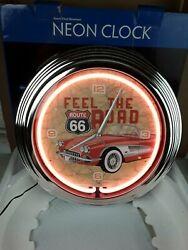 Route 66 Red Neon Wall Clock  15 INCH CORVETTE Brand New