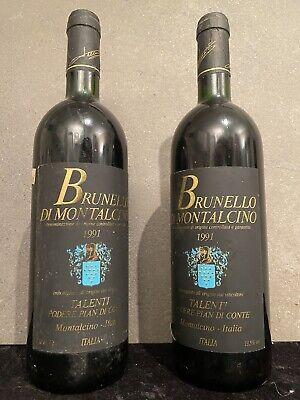 2 Flaschen Rotwein Brunello Di Montalcino 1991 Talenti Qualitätswein