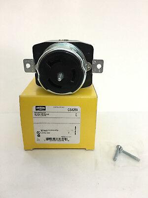 50a Twist-lock Receptacle 2p 3w 250vac Bk Hubbell Wiring Device-kellems Cs8269