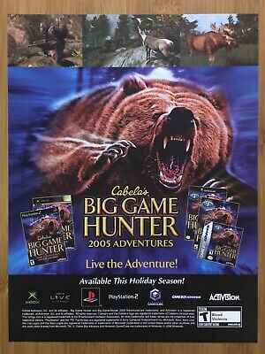 Cabela's Big Game Hunter 2005 Vintage Print Ad/Poster Official PS2 Xbox GCN Rare