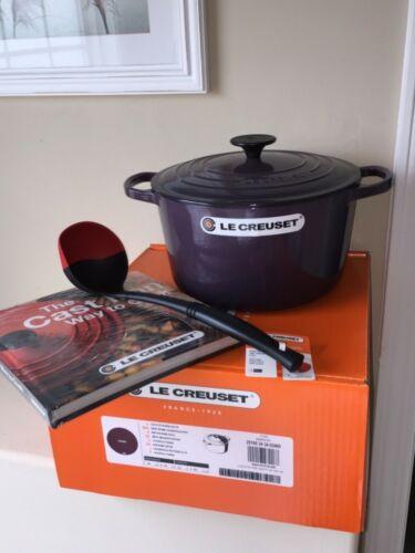 NIB Le Creuset Cast Iron Deep Round Oven 5.25 qt CASSIS Purple Ladle Cook Book