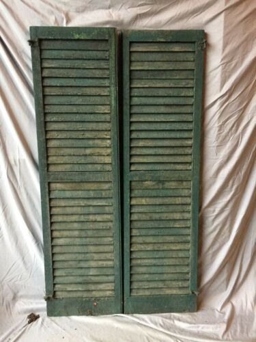 Pair Antique House Window Louvered Shutters 18X63 Shabby Vintage Chic 335-18C