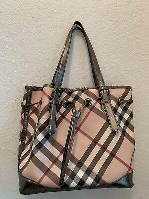 Beautiful Authentic BURBERRY Metallic Plaid Handbag  Purse