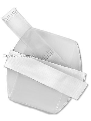Vertical Arm Band Photo Id Badge Holder - Lot Of 10 Pcs - White Strap