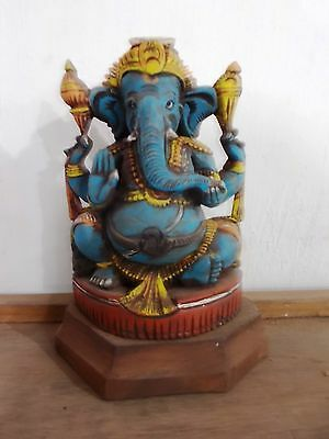 Hand carved Wooden Ganesh sculpture Statue Vintage Ornament Figurine Divine rare