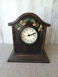 Manual Woodworkers & Weavers Table Dark Wood Mantel Clock Battery Vintage Style