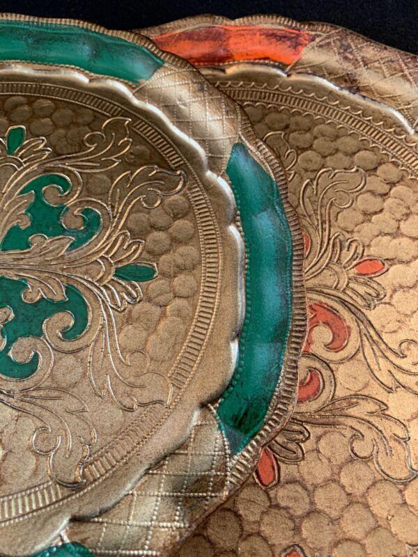 Pair Vintage Italian Florentine Dresser Trays in Plastic Gold & Green & Orange