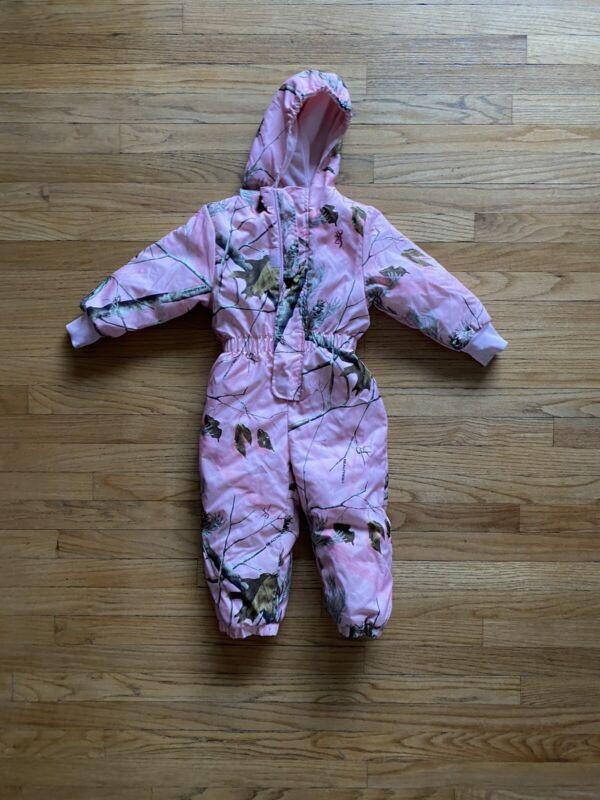 Browning Realtree Snowsuit Pink Camo Girls Sz 3T