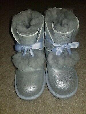 NEW Sz 3 Ugg Australia Gita Metallic Pom Pom Boot Sheepskin Youth Kids 1019701K