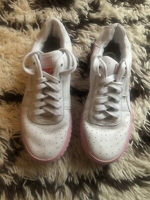 Puma Cali Pink And White Trainers UK 5