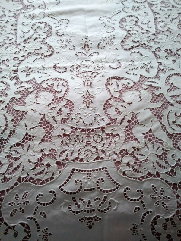 "Amazing Elaborate Italian Needle Lace Cutwork / Embroidered Tablecloth 130""x 68"""