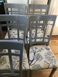 5 blue grey chairs with fabric seats-avail - -