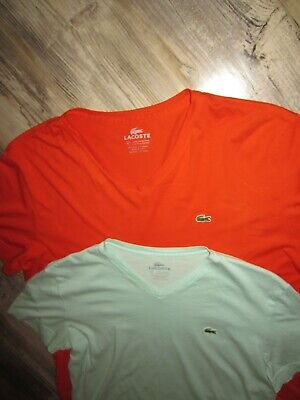 LOT OF 2 MENS LACOSTE V NECK THIN SHIRTS ORANGE SIZE 6 PHYSICIAN GREEN SIZE 4