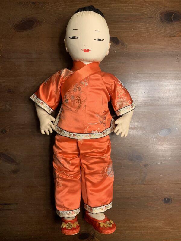 Vintage Mid-Century ADA LUM Chinese Boy Di Di Doll Silk Brocade Clothing & Shoes
