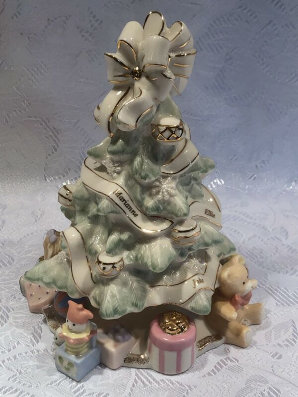 Vintage Lenox Porcelain Holiday Traditions Christmas Tree with 24K Gold Trim