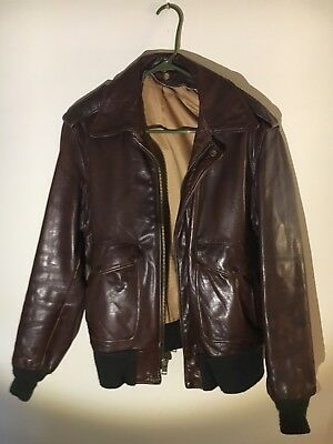 Used, Schott Flight Jacket 184 Size 40R Made in USA A2 G1 Brown Leather  for sale  Durham