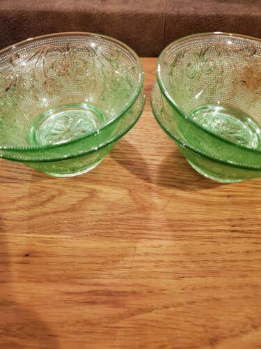 Tiaraware Chantilly Green Set of 4 Cereal Soup Bowls EUC